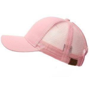 Pink Messy High Bun Trucker Baseball pony- Cap